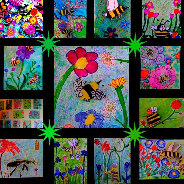 honey bee art, bees and flowers, children's art, Starbucks Art Show, bees