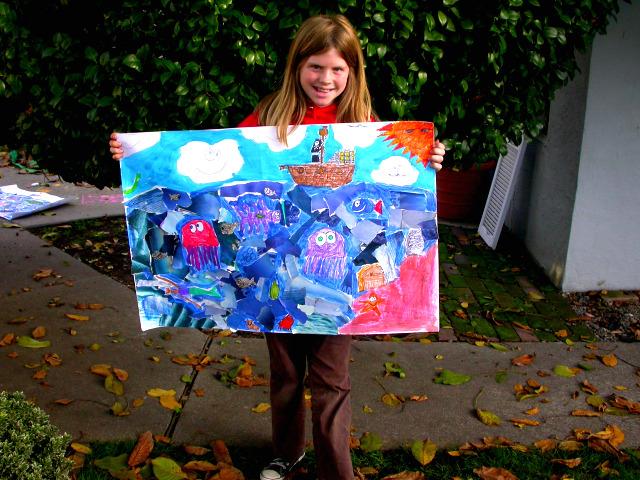 deep sea life, fish, whales, ships, ocean life, underwater art scene