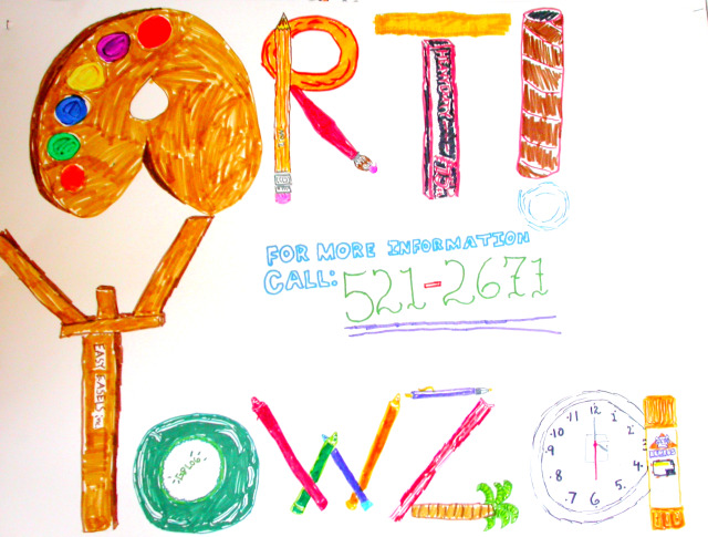 Art Yowza, signage, handmade sign, handlettering, art classes for children, art camps for kids
