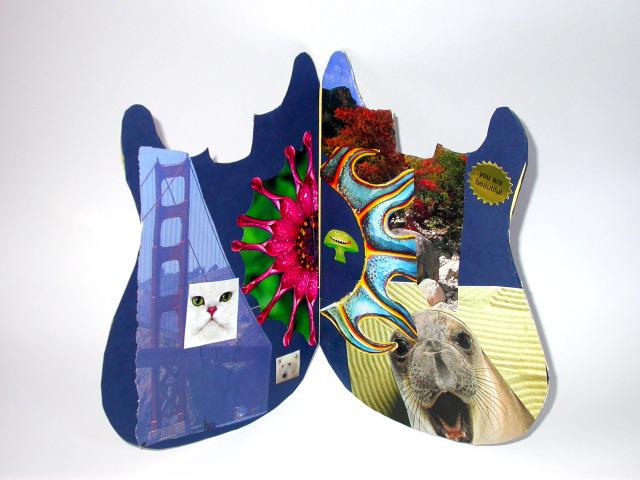 electric guitar art, collage art, san francisco rock scene, girl art, women in rock