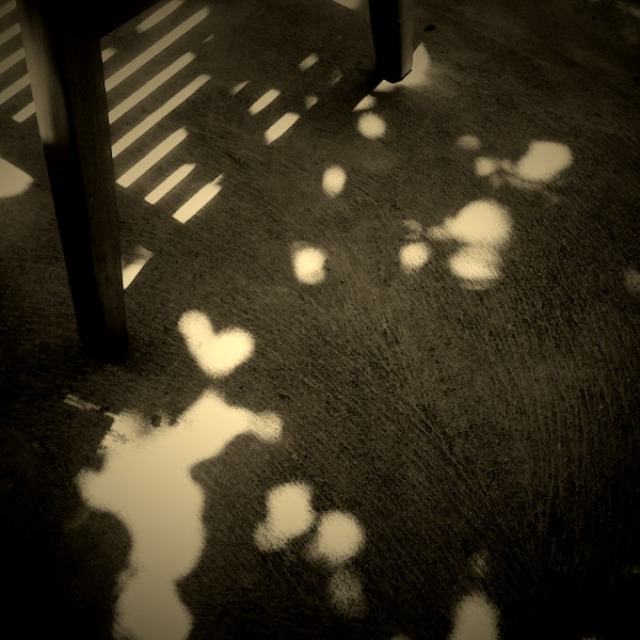 hearts, heart shadow, light lace, under a bench