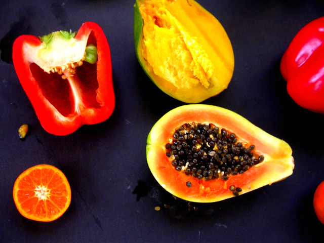 ripe fruit, open fruit, exotic fruits, split open fruits, fruit salad, papaya