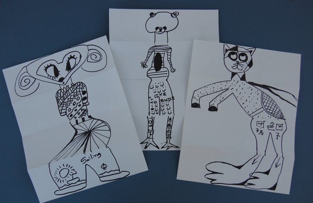 exquisite corpse, children's birthday party project, collaborative classroom project