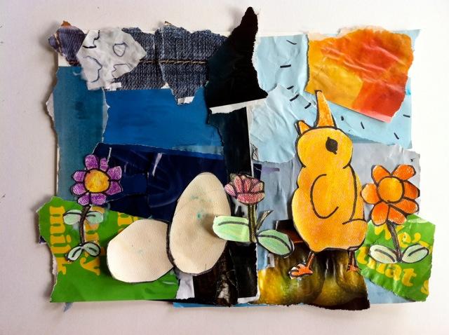 singing chicken, spring collage, spring chickens, elementary school collage